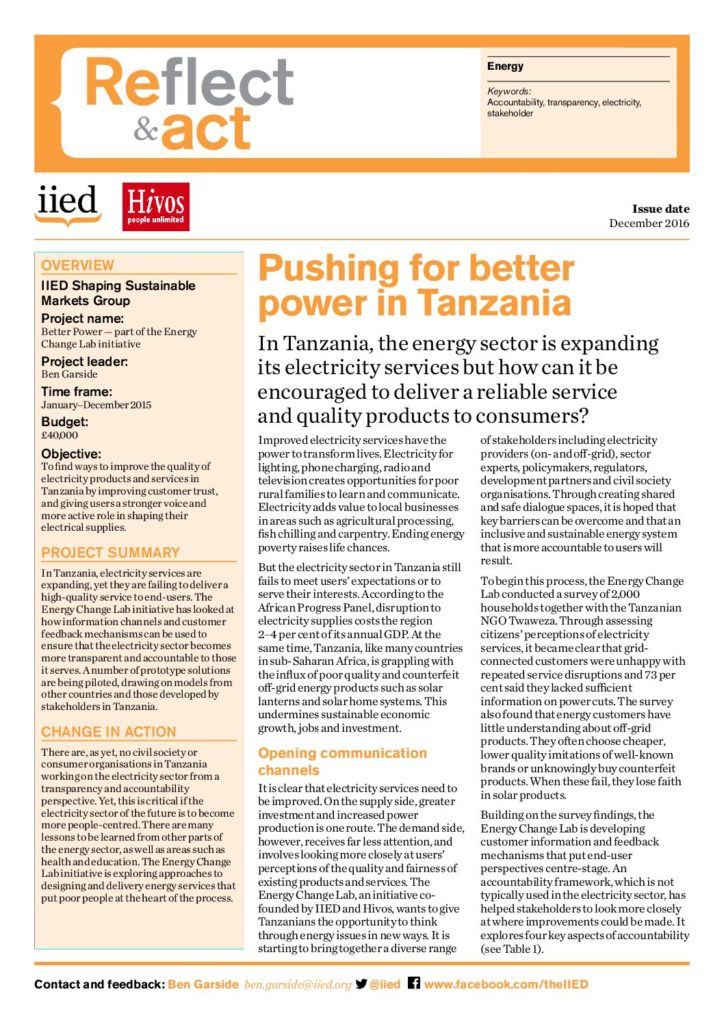 Pushing for better power in Tanzania - Energy Change Lab
